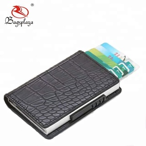 New model cheap mini wallet pop up credit card plain PU leather mini automatic snake skin wallet for men