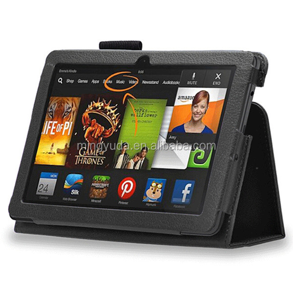 Back filp stand leather case for amazon kindle fire hdx7