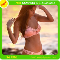 Wholesale sweety pink cotton breathe triangle handmade crochet bikini