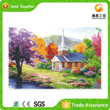 OEM and ODM landscape hand made 3d diamond painting abstract oil painting