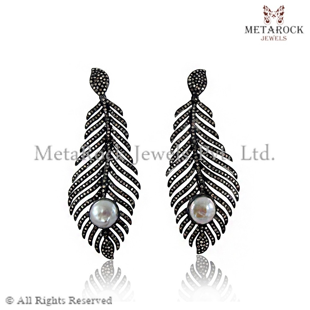 Freshwater Pearl Dangle Earrings Pave Diamond 925 Sterling Silver Feather Earrings Gift Jewelry Designer Party Wear Jewellery