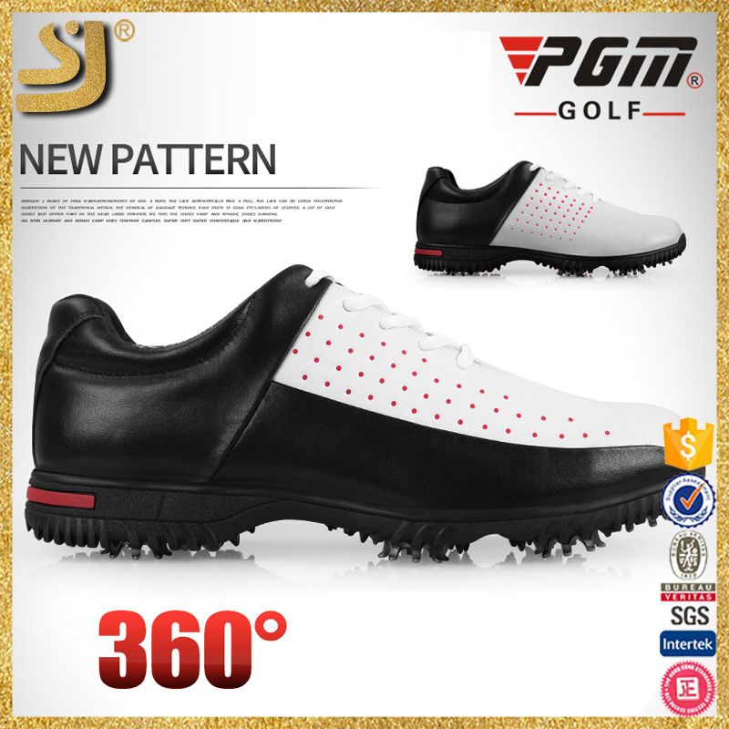 2017 wholesale new design spike sole soft leather golf eva football soccer shoe