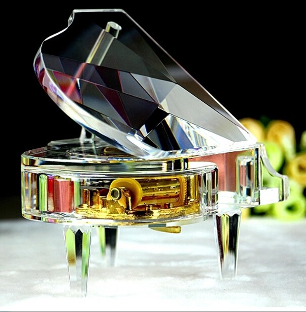 wholesale transparent crystal piano ornaments