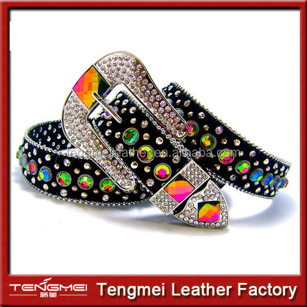 Wholesale Cowgirl Black Leather Volcano Crystal Western Bead Belt