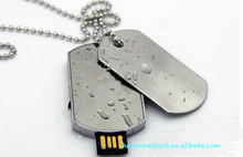 Military license flash drive 8GB customized logo necklace flash memory usb