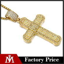 Top Selling Men's Hip Hop AAA CZ 24k Gold Plated Necklace Cross Box Chain Necklace 2017