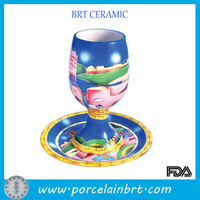 Fancy Ceramic Goblet Wine Cup With Saucer