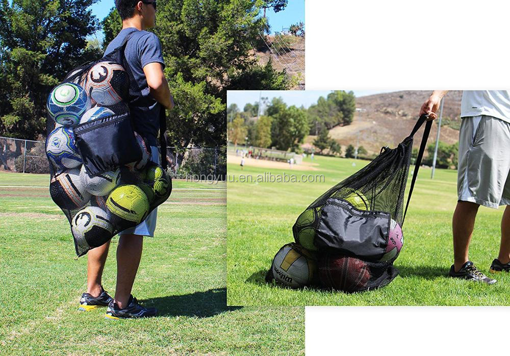 Heavy Duty Drawstring Closure Mesh football Bag with Should Strap Reusable Mesh Equipment Drawstring Ball Bag