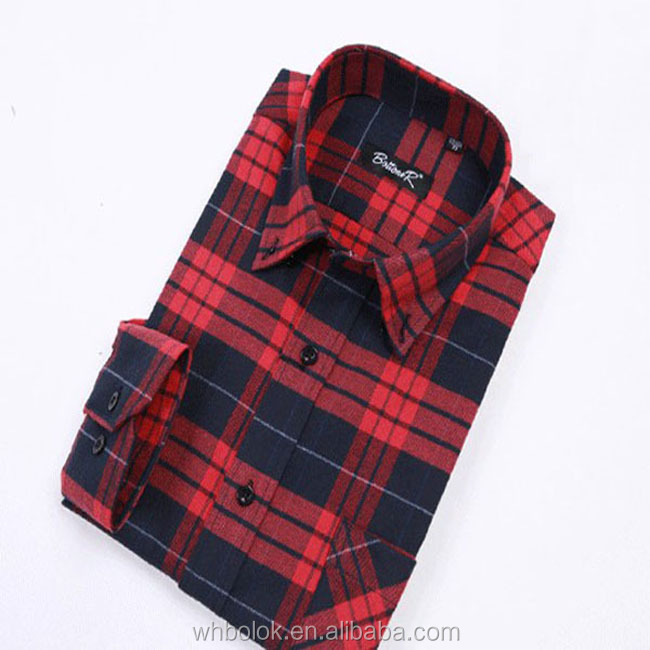 Men's OEM latest style new pattern checked flannel shirt slim fit shirt