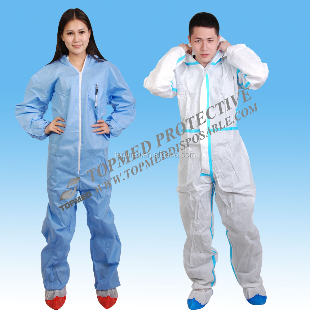 topmed disposable clothing paper suits/disposable coverall suit with boot and hood/disposable painting overalls