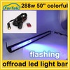 automotive cree strobe led light bar 288w 50 inch with remote control white yellow, red, blue, purple