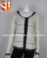 Ladies' scoop neck long sleeve cardigan with one button knitted sweater in china