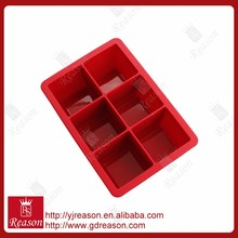 100% food grade novelty silicone six square ice cube tray mold
