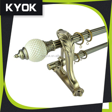 KYOK fancy design 25mm/28mm AB/AC color double curtain rod, resin finials for curtain rod pole wholesale