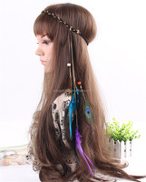 Hippie Headdress Indian Colorful Peacock Feather Pendant Headband Gold Leaves Rope Knitted Belt Elastic Hairband