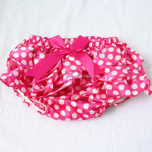 2017 Baby Girls Hot Pink Polka Dots Kids Bloomers BowKnot Baby Diaper Covers Satin Ruffle Bloomers