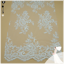 Wholesale white indian hand made heavy pearls beaded tulle lace fabric DHBF637
