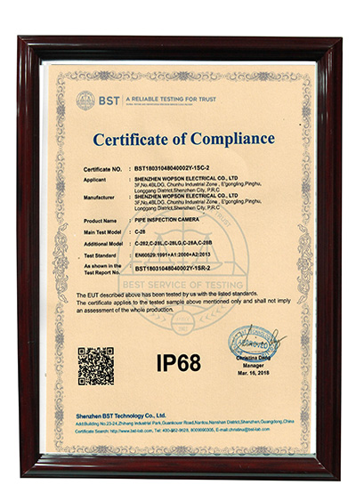 IP68 waterproof certification for 28mm camera