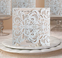 2016 Newest Design White Art Deco Laser Cut Wedding Invitations