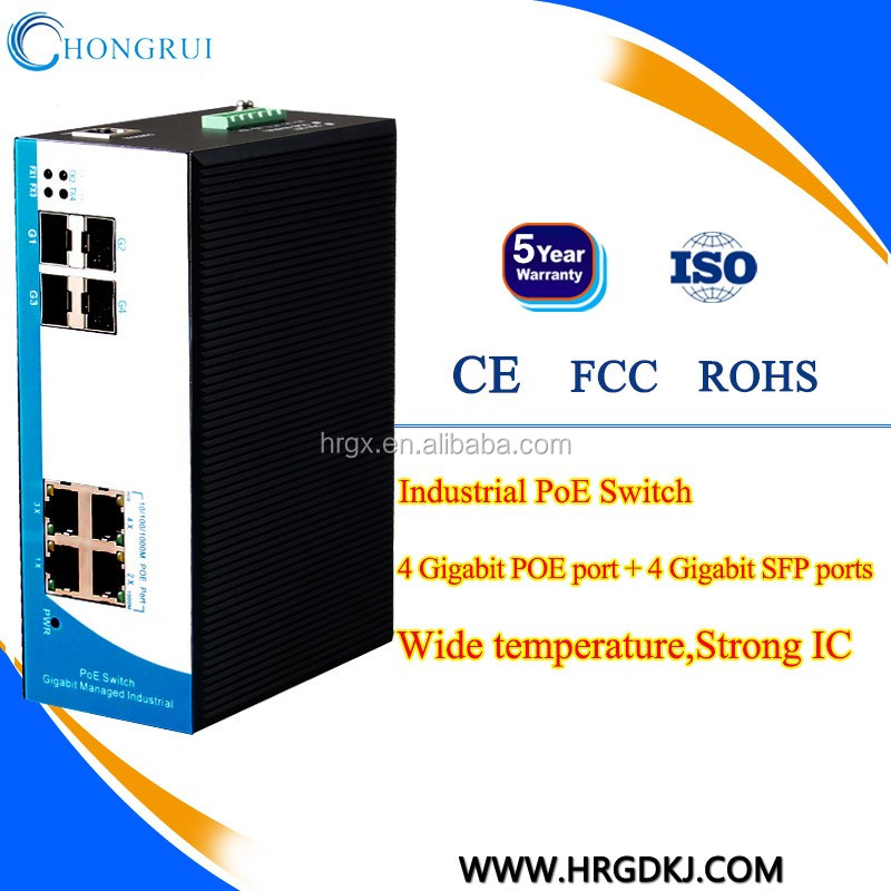 1000M industrial POE 4 port optical fiber switch with 4 sfp port