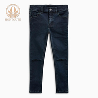 Comfortable Scratch Enzyme Wash Black Kids Denim Jeans