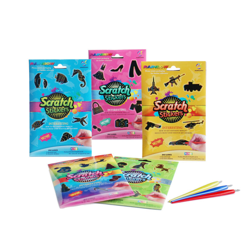 Magic scratch art paper stencil animali pittura zero
