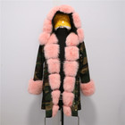 Fashion Warm Long Camouflage Style Fox Fur Parka Jackets for Ladies
