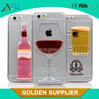 red wine glass liquid plastic phone case 3d quicksand mobile phone cover