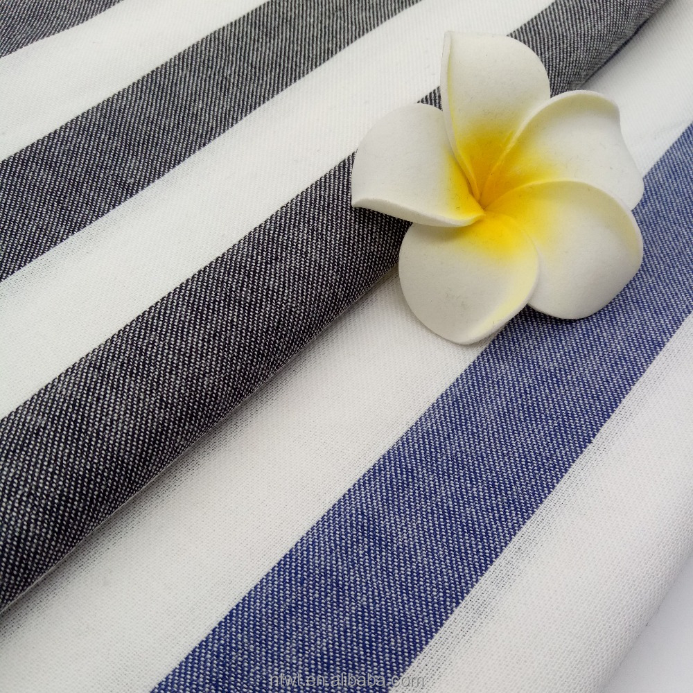 Custom cotton yarn dyed black white stripe t shirt fabric