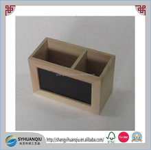 Brand New Double Drawer Blackboard Wooden Pen Holders Desktop Storage Box