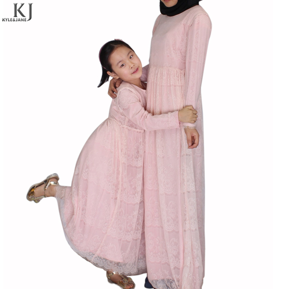 pink lace full layer lining kids garment abaya online in pakistan islamic children clothing