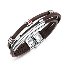 Marlary Retro Mens Brown Beads Long Stainless Steel Bar Male Genuine Leather Bracelet