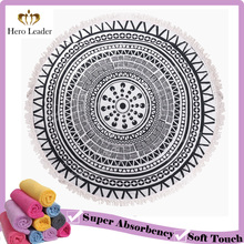 Custom digital printing terry cloth mandala round beach towel