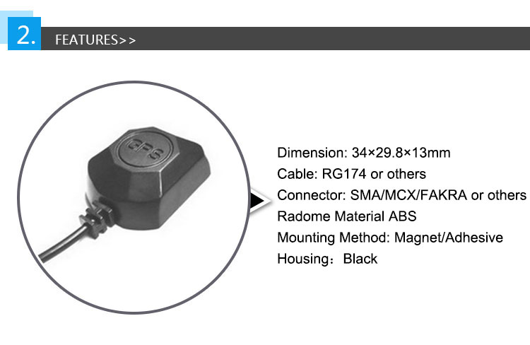 Well designed abs black gain 5dbi gps inner active antenna