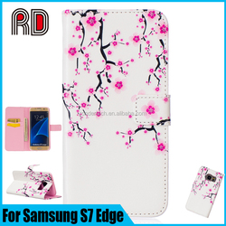 Fashion Flower Printing Leather Lanyard Flip Case for Samsung S7 Edge Card Slot Pouch