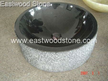 black granite cylinder sinks 0099