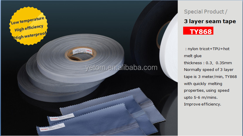 SUPER BONDING 3 LAYER SEAM SEALING TAPE/SEAM TAPE FOR OUTDOOR GARMENTS,SHOES