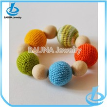 African beads colorful cotton knit ball link wooden beads bracelet yiwu manufacture