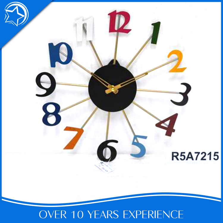 Wholesale frameless modern colorful wall clock