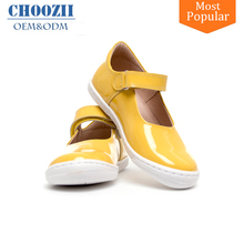 Manufacture Link Wholesale New Model Little Girls Simple Yellow Leather Mary Jane Shoes