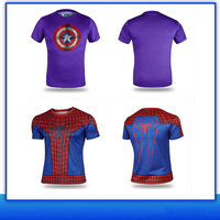 New Arrival Mens Superhero Comics Casual Cycling T Shirts Short Sleeve Jersey Tee Sports
