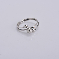 Wholesale super quality brass copper alloy 18k white gold plated newest wire with ball end design finger rings