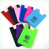 Custom Cute Mobile Phone Pouch And Silicone Card Holder With 3M 300Lse Sticker