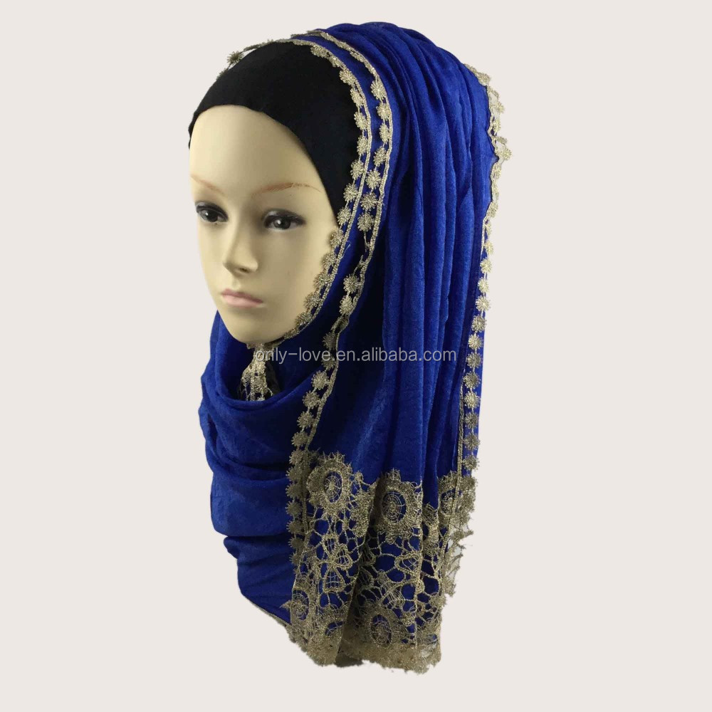New Style Lace Shiny silk Hijab Charming Shawls Wraps Embroidery muslim Scarves QK043