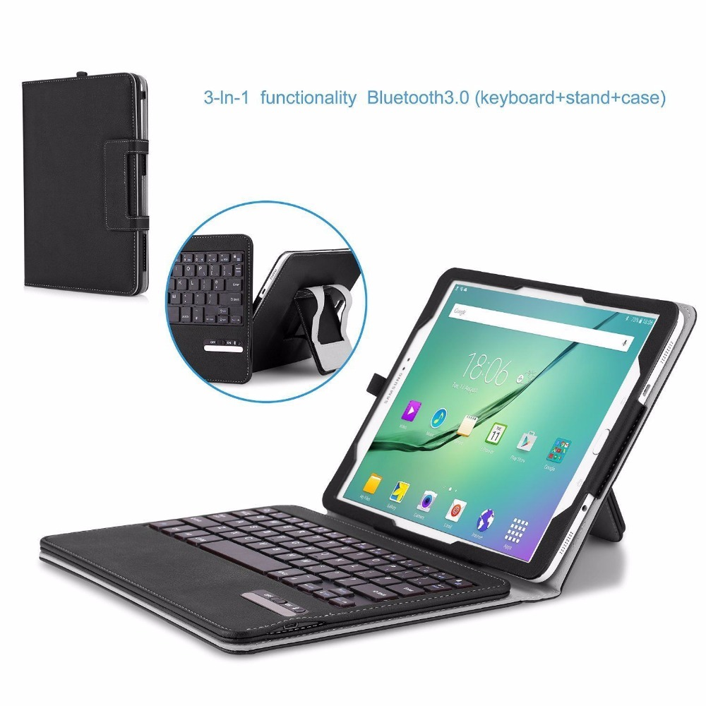 With Removable Bluetooth Keyboard PU Leather Cover Case for Samsung Galaxy Tab S2 9.7