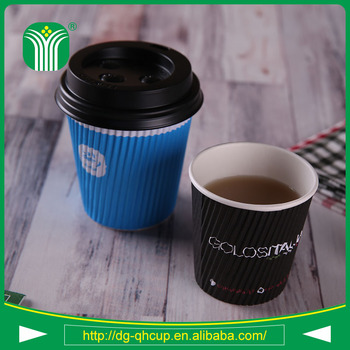 custom disposable corrugated paper cups for coffee 9oz
