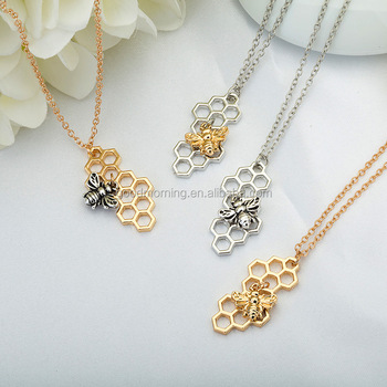 Bee Honeycomb Pendent Necklace