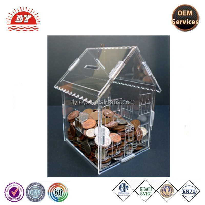 High Quality plastic decorated house money saving box