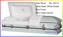 Pearl Rose With Pink Crepe 18Ga Steel Casket