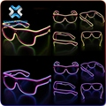 Wisdom Victory El Wire Glow Sunglasses Led DJ Bright Light Safety Light Up Multicolor Frame Voice control led flashing glasses